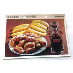 """FICHE CUISINE vintage rétro la bonne cuisine desserts """"BEIGNETS DE BANANE"""""""