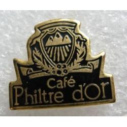 Ancien pin's collection café philtre d'or + attache métal
