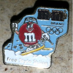Ancien pin's collection m&m's JO 1991 + attache métal