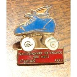 Ancien pin's collection CHAMPIONNAT DE FRANCE SUR PISTE ST BRIEUC 1991 + attache métal