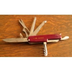 Ancien Couteau canif décapsuleur métal multifonction publicitaire GIMEL