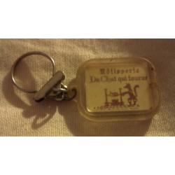 """Ancien porte clé publicitaire """" RÔTISSERIE DU CHAT QUI TOURNE HOTEL DE FRANCE COMPIÈGNE"""" collection occasion"""