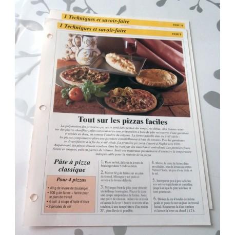 """FICHE FASCICULE COLLECTION GOURMANDISES FAMILIALES """" TECHNIQUES ET SAVOIR FAIRE fiche 09 et 10 tout sur les pizzas faciles """""""