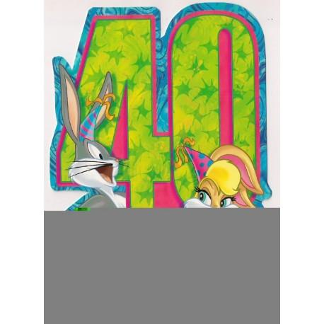 Carte postale NEUVE - Bugs Bunny - 40 ans joyeux anniversaire