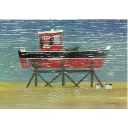 CARTE POSTALE NEUVE 12 X 17 CM collection DRIFTWOOD ART boat painting neuve