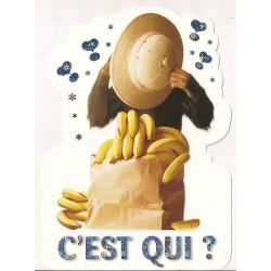 Carte postale - c'est qui ? - singe Anniversaire fête NEUVE