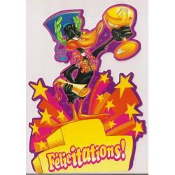 Carte postale - Félicitations - Daffy Duck Anniversaire fête en tout genre NEUVE