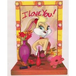 Carte postale - I Love You - Lola Bunny Anniversaire fête en tout genre NEUVE