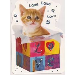 Carte postale - love love love - chaton Anniversaire fête en tout genre neuve