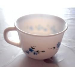 Vintage !! lot de 2 tasses café chocolat myosotis arcopal blanc fleurs bleue