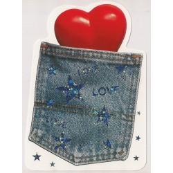 Carte postale - love love love - poche de jeans Anniversaire fête en tout genre neuve