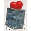 Carte postale NEUVE - love love love - poche de jeans