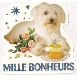 Carte postale - mille bonheurs - chien Anniversaire fête en tout genre neuve