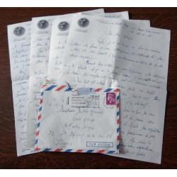 """ANCIENNE LETTRE D´AMOUR CACHET PORTE AVION CLEMENCEAU + ENVELOPPE TIMBRÉE """" le 12 et 13 / 06 / 1968"""