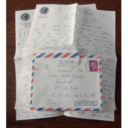 """ANCIENNE LETTRE D´AMOUR CACHET PORTE AVION CLEMENCEAU + ENVELOPPE TIMBRÉE """" le 24 et 25 / 11 / 1968"""