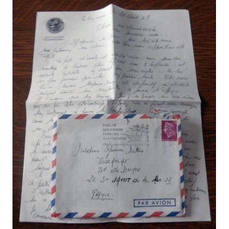 """ANCIENNE LETTRE D´AMOUR CACHET PORTE AVION CLEMENCEAU + ENVELOPPE TIMBRÉE """" le 26 / 08 / 1968"""