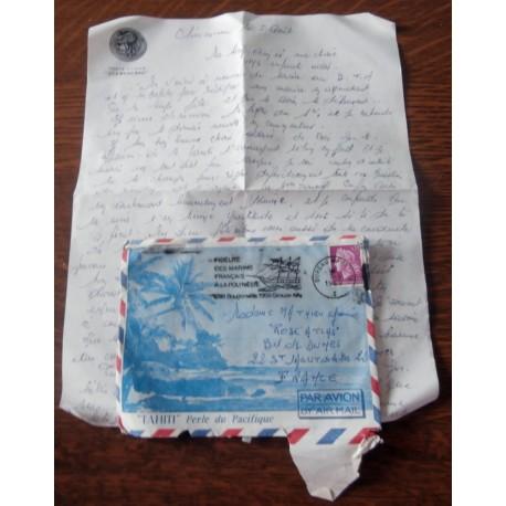 """ANCIENNE LETTRE D´AMOUR CACHET PORTE AVION CLEMENCEAU + ENVELOPPE TIMBRÉE """" le 05 / 08 / 1968"""