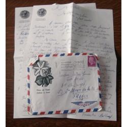 """ANCIENNE LETTRE D´AMOUR CACHET PORTE AVION CLEMENCEAU + ENVELOPPE TIMBRÉE """" le 13 / 09 / 1968"""