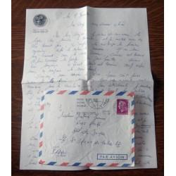"""ANCIENNE LETTRE D´AMOUR CACHET PORTE AVION CLEMENCEAU + ENVELOPPE TIMBRÉE """" le 8 / 11 / 1968"""
