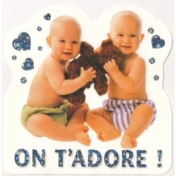 Carte postale - on t'adore - bébés anniversaire fête en tout genre neuve