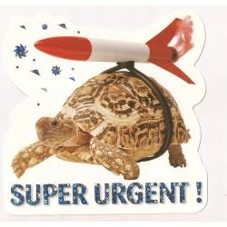 Carte postale - super urgent - tortue fusée anniversaire fête en tout genre neuve