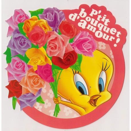 Carte postale NEUVE - p'tit bouquet d'amour - Titi