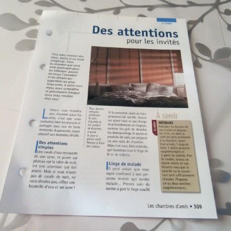 """FICHE FASCICULE COLLECTION LE GUIDE DE LA MAISON """" LA CHAMBRE 309 """""""