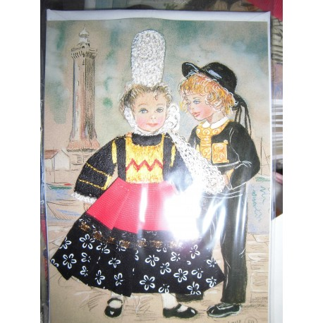 Carte postale NEUVE Bretonne Art Jack Louannec Brodee En 3d Neuve