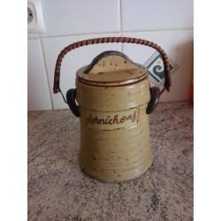 ancien pot a cornichon en grès rocaille avec couvercle + anse osier tbe