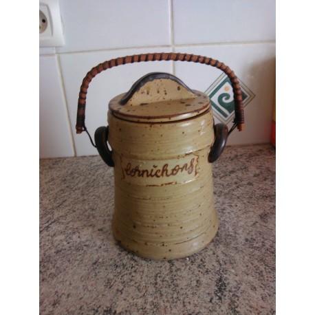 ancien pot a cornichon en grès avec couvercle + anse osier tbe