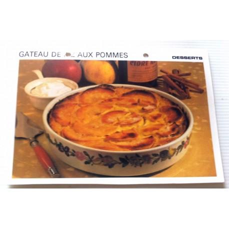 """FICHE CUISINE vintage rétro la bonne cuisine desserts """"gâteau de riz aux pommes """""""