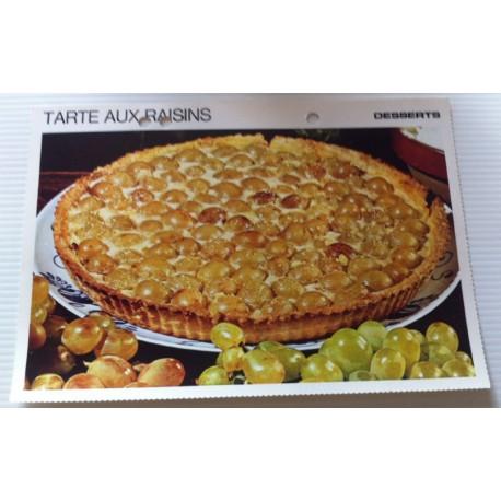 """FICHE CUISINE vintage rétro la bonne cuisine desserts """"tarte aux raisins """""""