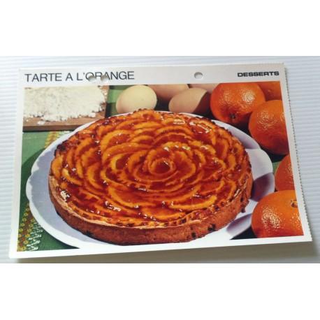 """FICHE CUISINE vintage rétro la bonne cuisine desserts """"tarte à l'orange """""""