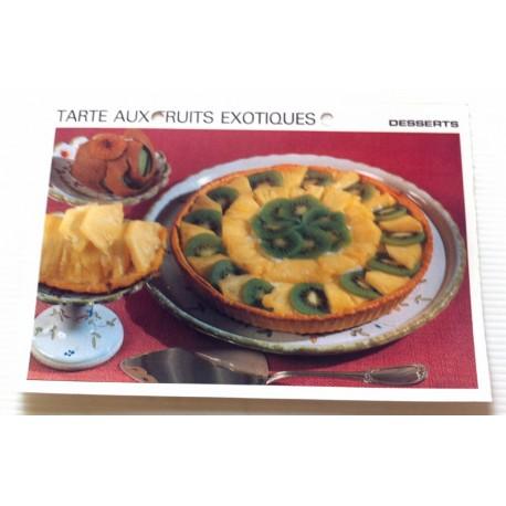 """FICHE CUISINE vintage rétro la bonne cuisine desserts """"tarte aux fruits exotiques"""""""