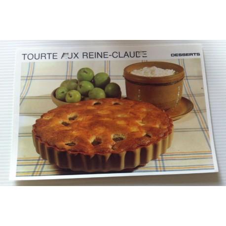 """FICHE CUISINE vintage rétro la bonne cuisine desserts """"tourte aux reine claude """""""
