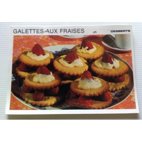 """FICHE CUISINE vintage rétro la bonne cuisine desserts """"galettes aux fraises """""""