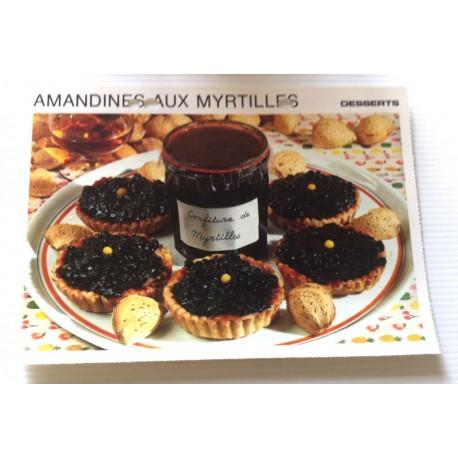 """FICHE CUISINE vintage rétro la bonne cuisine desserts """"amandines aux myrtilles """""""