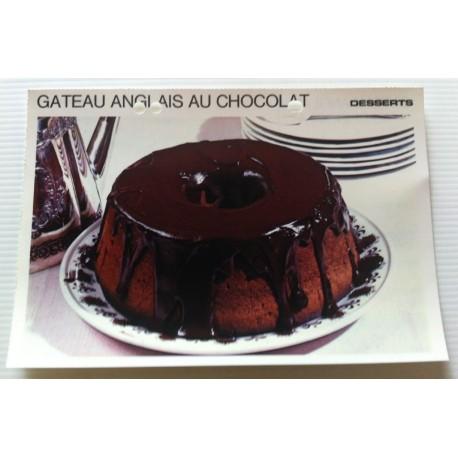 """FICHE CUISINE vintage rétro la bonne cuisine desserts """"gâteau anglais au chocolat """""""