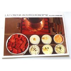 """FICHE CUISINE vintage rétro la bonne cuisine plats uniques """"LA FONDUE BOURGUIGNONNE """""""