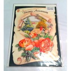 Carte postale neuve avec enveloppe joyeux anniversaire dépliante parfumée ( lot 6.01)