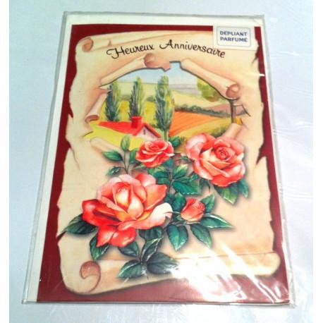 Carte postale neuve avec enveloppe joyeux anniversaire dépliante parfumée ( lot 6.02)