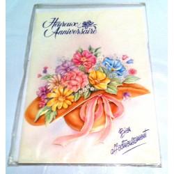 Carte postale neuve avec enveloppe joyeux anniversaire floral ( lot 5.04 )