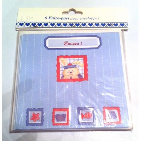 Lot de 6 faire parts naissance avec enveloppes bébé 14 x 14 cm bleu ourson