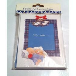 Lot de 6 faire parts naissance avec enveloppes bébé calin bleu blanc