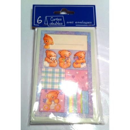 Lot de 6 cartes doubles avec enveloppes bébé ourson neuf