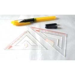 Fourniture scolaire lot set de 5 pièces plume jaune 2 équerres transparentes cartouches encre collège lycée neuf