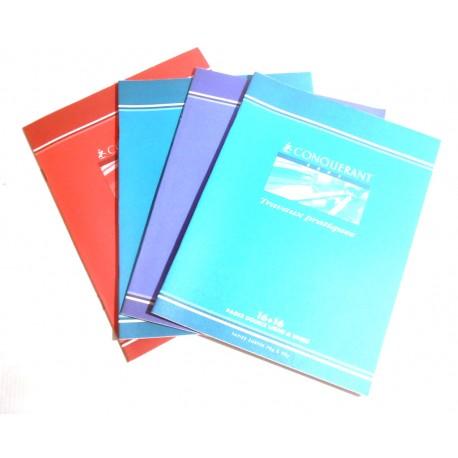 LOT DE 4 CAHIERS 32 PAGES CONQUÉRANT 70 et 90 G TRAVAUX PRATIQUES 16 PAGES DOUBLE LIGNE + 16 UNIES NEUF