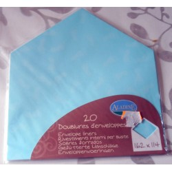 Lot de 20 doublures enveloppes 162 x 114 couleur bleu naissance faire part anniversaire loisirs créatifs