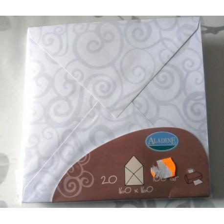 Lot de 20 enveloppes 160 x 160 couleur blanc/gris naissance mariage faire part anniversaire loisirs créatifs