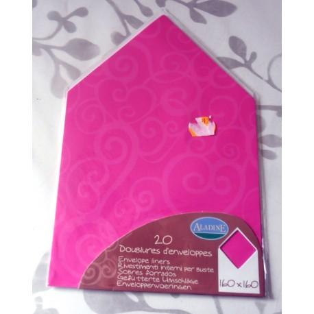Lot de 20 doublures enveloppes 160 x 160 couleur arabesque rose mariage faire part anniversaire loisirs créatifs